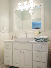 beadboard bathroom  white vanity  trough sink hgtv