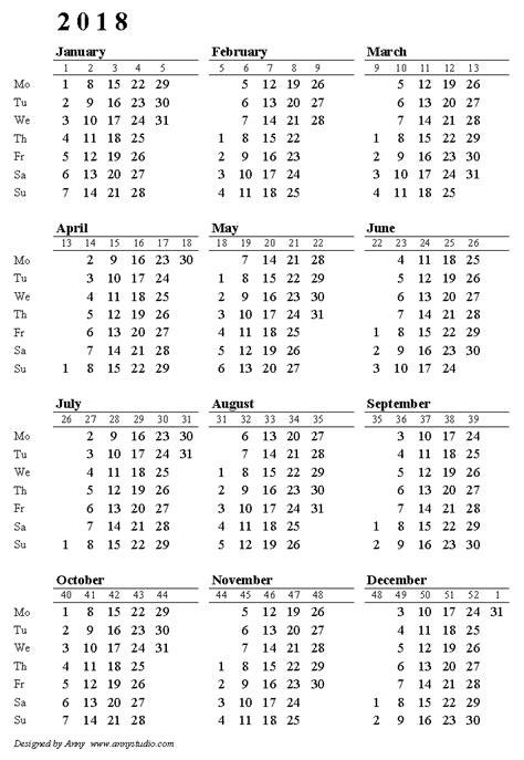 calendar week numbers yunco