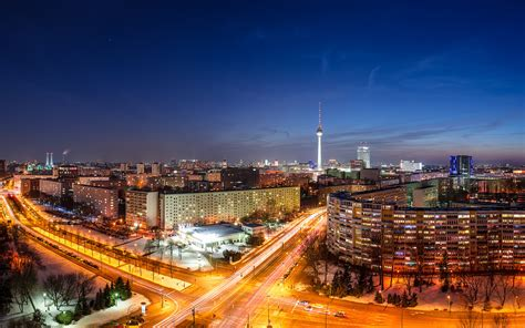 Berlin The Capital Deutschland Germany Germany A City Panorama Night Home Building Tower Road