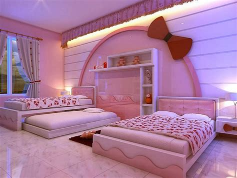 Cute Hello Kitty Bedroom For Kids With Wall Shelves