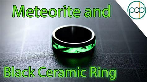 making  glowing meteorite  black ceramic wedding ring