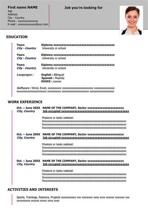 Template For Resume Word by Free Cv Template To Fill Out In Word Format Cv Exles
