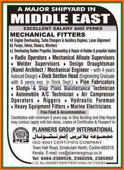 Shipyard Jobs by Shipyard Jobs For Middle East Gulf Jobs For Malayalees