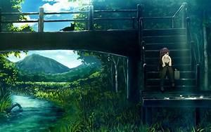 Anime, Girls, Bakemonogatari, Cats, Green, Long, Hair, Nature, Plants, Ponytails, Purple, Rivers