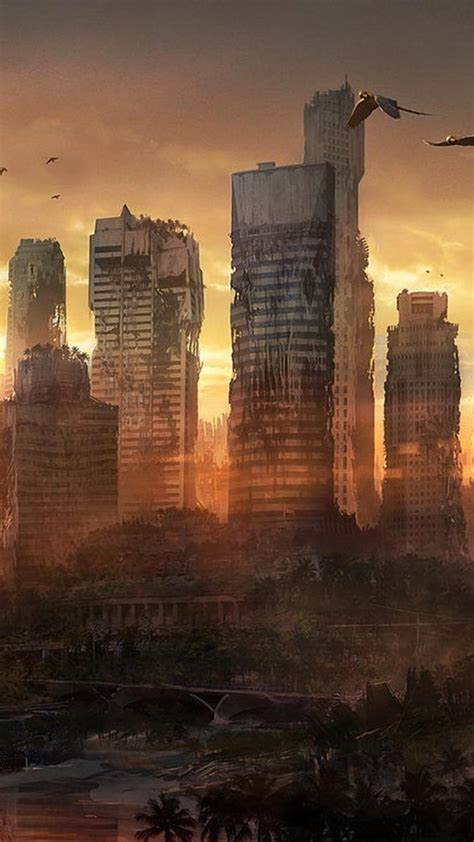cityscapes post apocalyptic fantasy art wallpaper
