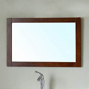 Bellaterra 203129 mirror w walnut bathroom mirror with for Mirror wood frame