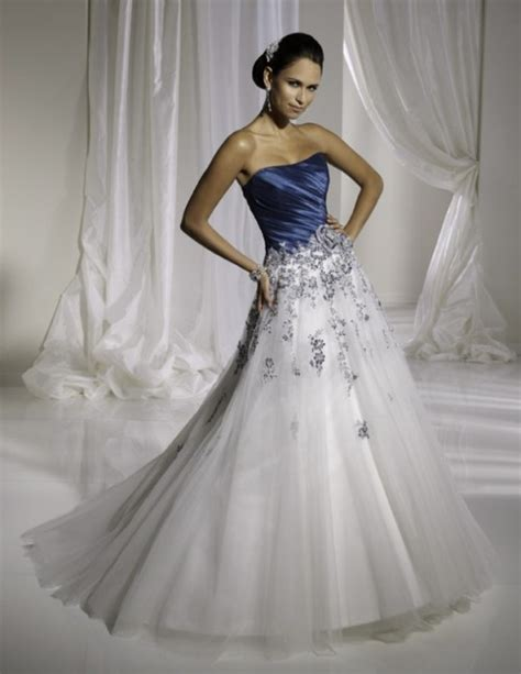 simple white  blue wedding dresses  candia fashion