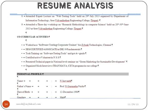 Resume Analysis Final Live291113  Online Mini Mba (free