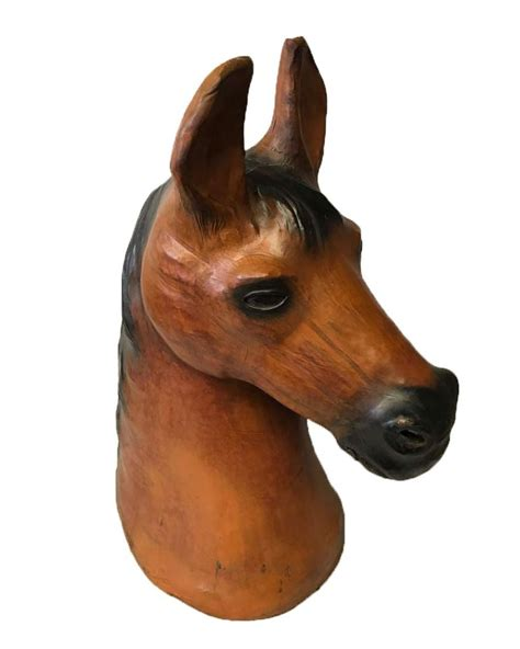large horse head leather covered paper mache sculpture favors handicraft