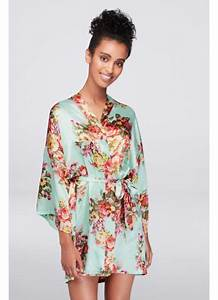 floral satin robe david39s bridal With robe liberty femme