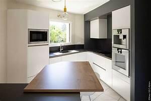 Cuisine D Angle : cuisine d angle ouverte en blanc et bois idkrea rennes ~ Teatrodelosmanantiales.com Idées de Décoration