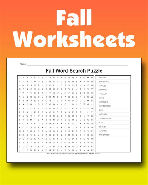 fall worksheets   games  primarygames