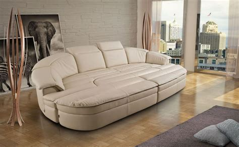 Modular Sofa Made Of Leather, Bicolor