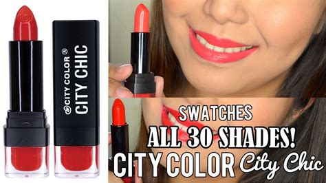 30 Shades Of by City Color City Chic Lipstick Swatches 30 Shades