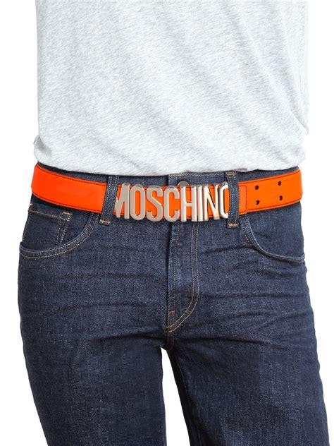 moschino logo buckle leather belt  orange  men lyst
