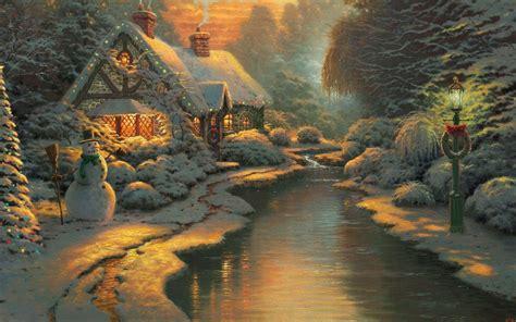 christmas cottage desktop pc  mac wallpaper