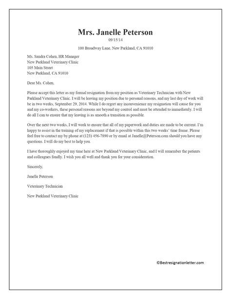 Best Reason For Resignation Letter - Sample Resignation Letter