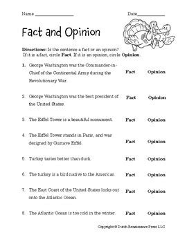 fact and opinion worksheets by tim s printables tpt