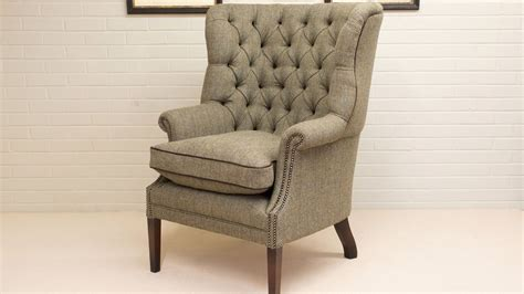 Button Back Harris Tweed Wing Chair
