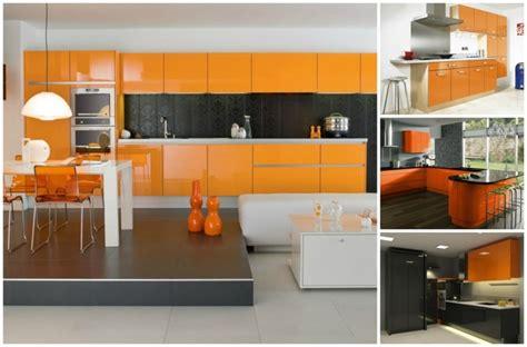 cuisine idee couleur cuisine couleur orange pour un décor moderne et énergisant