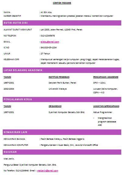 contoh resume resume ideas