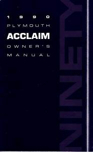 1990 Plymouth Acclaim Owners Manual User Guide