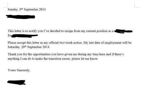 how to write a 2 week notice letter for work how do you write a two weeks notice nostupidquestions 30587