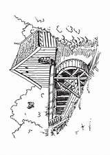 Coloring Mill Windmills Watermill Windmolens Windmill Adult Adults Kleurplaten Designlooter Visit sketch template