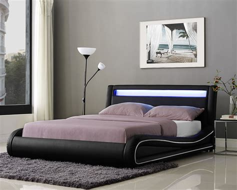 LED Double Bed Frame or King Size Faux Leather Bed LED