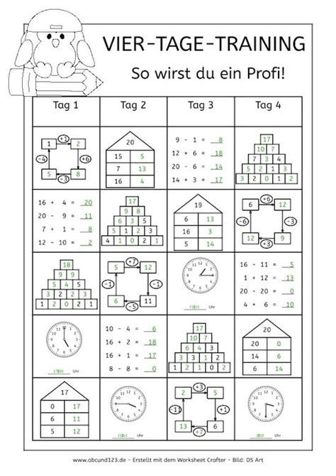 day math training vier tage mathe training