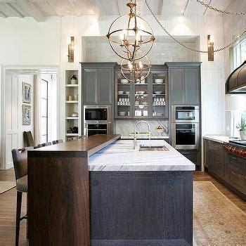 gray kitchen island  walnut waterfall breakfast bar contemporary kitchen