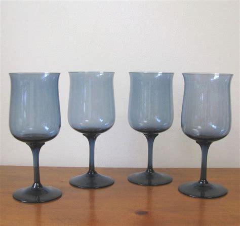 blue wine glasses vintage london blue wine glasses set of 4 from whimsicalvintage on ruby lane