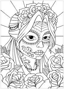 Skull coloring pages image by Victoria Hedrick on drawing!!!! | Coloring pages for girls