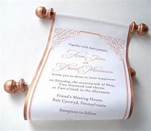 calligraphy wedding invitation bronze fabric scroll With scroll beach wedding invitations