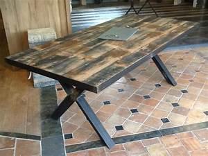 Table Industrielle Bois : table industrielle bois et fer 203 cm de longueur bca mat riaux anciens ~ Teatrodelosmanantiales.com Idées de Décoration