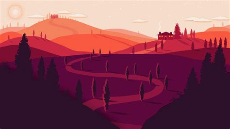 wallpaper sunset landscape summer tuscany italy