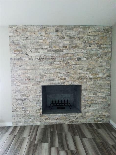 silver travertine ledgestone google search fireplace
