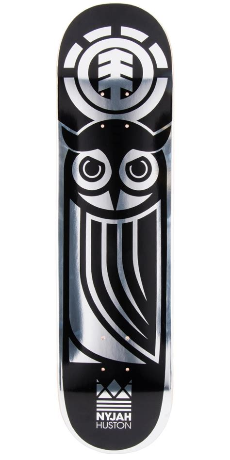 element nyjah huston black owl skateboard deck 7 7 quot