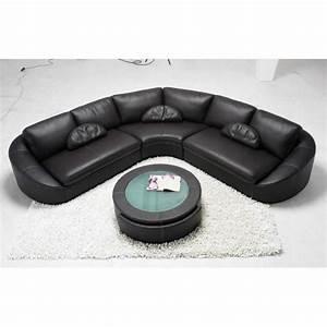 Canapé Angle Arrondi : canap d 39 angle en cuir noir arrondi achat vente canap sofa divan cuir polyur thane ~ Teatrodelosmanantiales.com Idées de Décoration