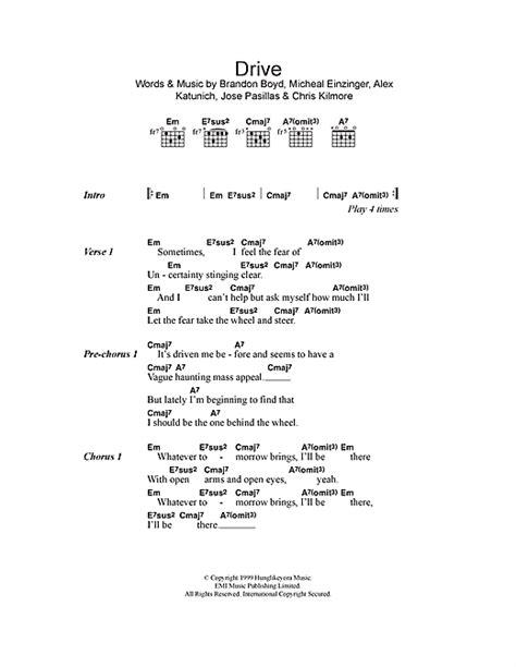 drive sheet   incubus lyrics chords