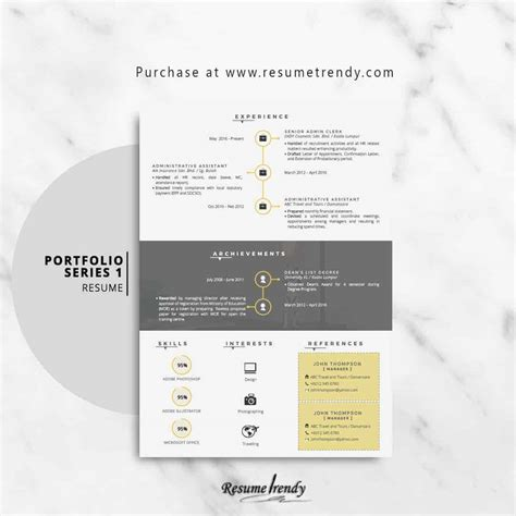 portfolio resume template resume trendy