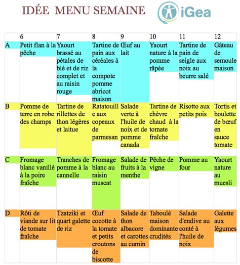 menu semaine cuisine az menu diététique