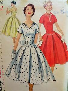 Vintage Simplicity 1076 Sewing Pattern 1950s Dress Pattern