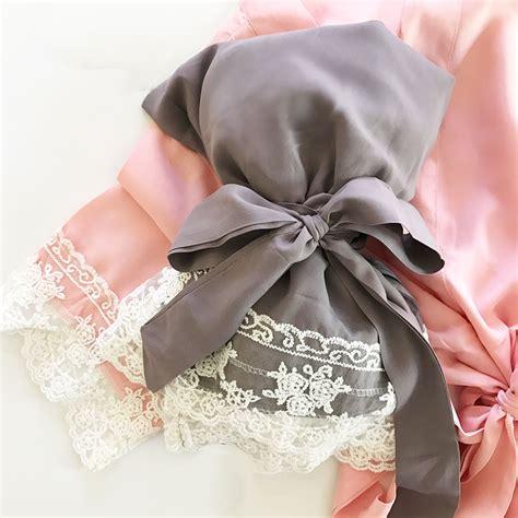 Bridal Shower Supplies Wholesale - monogram cotton lace robes bridesmaids gift bridal