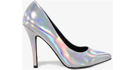 Forever 21 Pointed Hologram Pumps In Metallic