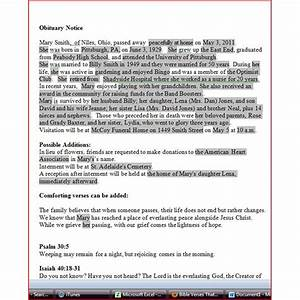 writing an obituary with ms word format tips and With obituary guide template