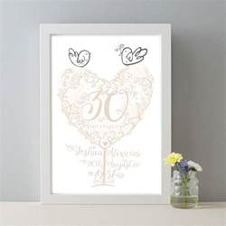 30th wedding anniversary gift personalised 30th anniversary gift pearl wedding print by wetpaint notonthehighstreet