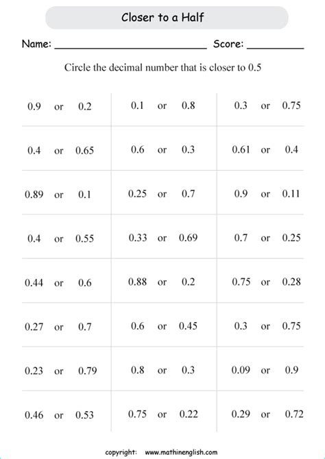 circle decimals closer   printable grade  math worksheet