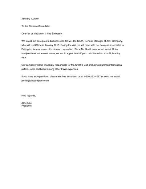Visa Application Letter Sample Invitation - Letter of