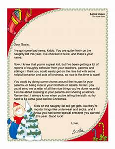 santa letter naughty list With naughty letter from santa
